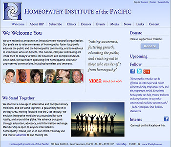 the welcome page of Homeopathy Institute of the Pacific website