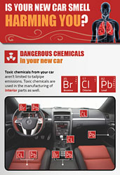 poster of car interior and list of chemicals present