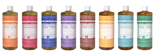 eight different choices of Br.Bronner's liquid soaps