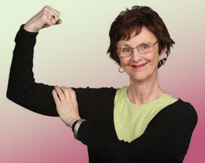 woman flexing arm, squeezing her bicep muscle